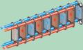 Пластинчатые разборные теплообменники, одноходовая схема пластинчатого теплообменника