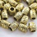 Бусины-разделители металлические, бочка, цвет: античное золото, размер: 8х6.5мм, отверстие 4мм, (УТ0027668)