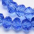 Бусины австрийский хрусталь имитация, стекло, граненые, прозрачные, рондель, цвет: синий, размер: 6х4мм, отв-тие: 1мм, около 100шт/нить, (УТ0003246)