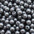 Жемчуг бусины акриловые, глянцевые, круглые, цвет: серебристо-серый, размер: диаметр 6мм, отверстие 1мм, около 480шт/50г, (УТ000005931)