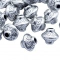 Бусины металлические, форма: биконус, цвет: античное серебро, размер: диаметр: 7мм, толщина 6мм, отверстие 2мм, (БА000001007)