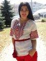 Вышиванка льняная женская с геометрическим орнаментом