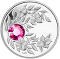 Монета с лиловым кристаллом Турмалин, серебро