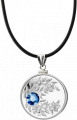 Монета-подвеска с благородно-синим кристаллом Сапфир, серебро