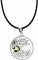 Монета-подвеска с кристаллом цвета летней травы Перидот, серебро
