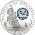Серебряная монета Голландская Ост-Индская компания со вставкой из фарфора, расписанного вручную