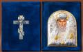 Складень бархатный Серебро 925° позолота Святой Николай Чудотворец