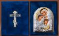 Складень бархатный Серебро 925° позолота Святое Семейство