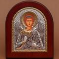 Икона арочной формы  В деревянной рамке  Серебро 925° позолота  Лик прописанный  Ангел-Хранитель