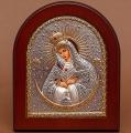 Икона арочной формы  В деревянной рамке  Серебро 925° позолота  Лик прописанный  Икона Божией Матери Остробрамская