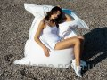 White chair a bag a pillow of 120*140 cm from skin of the deputy, a chair ma