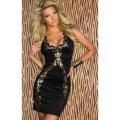 Платье черное с золотым принтом, вечернее платье, плаття