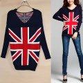 Пуловер флаг Великобритании, пуловер женский, туника женская