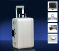 Серебряный дорожный чемодан с портпледом