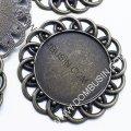 Коннектор-сеттинг круглый под кабошон, металл, цвет: бронза, размер: диаметр 45мм, внутренний 30мм, толщина 3мм, отверстие 3мм, (УТ0026138)