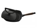 Сковорода  26*26 с крышкой прессом (деревянная ручка)
