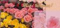 Двойная открытка евроформата Открытки с ароматом цветов (105х205 мм) в упаковке с конвертом.  Прикоснитесь к букету и Вы почувствуете прекрасный аромат роз.