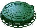 Люк легкий канализационный полимерпесчаный зеленый 3800021