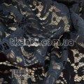 Ткань Гипюр Папоротник ( темно-синий ) 4471