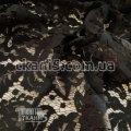 Ткань Гипюр Папоротник ( черный ) 3860