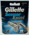 Gillette Sensor Excel Сменные кассеты для бритья, 10 шт.