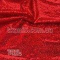 Ткань Пайеточная ткань густая ( красный ) 5604