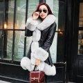 Женский кожаный зимний пуховик с мехом. Модель 05128