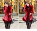 Зимняя женская дубленка-пиджак. Модель 05178 красный