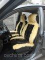 Автомобильный чехол  из овчины желтого цвета с черными вставками АЧ02