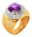 Кольцо золотое Au 585° пробы со вставками из драгоценных и полудрагоценных камней