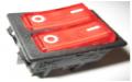 Выключатель двухклавишный с подсветкой широкий 31х22мм 6 контактов 16А 220В Турция, ВК2СШ6К, ВК2СШ6К