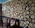 Стена из среза дерева