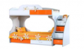 Кровать двухъярусная c ящиками на роликах