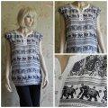 Блузка с орнаментом слоны, короткий рукав, арт. N4242