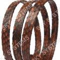 Плоский шнур из кожи питона 10 х 2 мм | Коричневый с черным