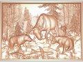 Картина резная из дерева «Охота»