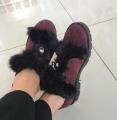 Бордовые ботиночки с натуральным мехом