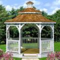 Arbor for a garden with a two-level roof