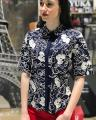 Female blouse with a turn-down collar and an embroidery YUKA PARIS (France) the NEW SPRING SUMMER 2018 COLLECTION