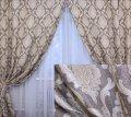 """Готовые плотные шторы, коллекция """"Лен Корона"""". 146ш 2 шторы шириной по 1.5м."""