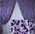"""Комплект готовых штор  блэкаут """"Вензель"""" двусторонний. Цвет фиолетовый  184ш (А) 2 шторы шириной по 2.5м."""
