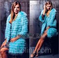 Fur coat from fur of a raccoon of celestial-blue Candice color available the 46th solution
