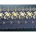 Кружево вышивка на сетке синее 130-145