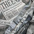 Ткань тюлевая Кисея Британские Новости Черный