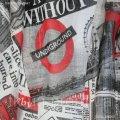 Ткань тюлевая Кисея Британские Новости Красно-Черный