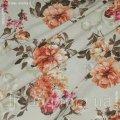 Ткань декоративная Панама принт Лима цветы Терракот фон Беж