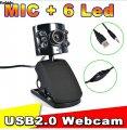 Веб-камера6 светодиодов, с микрофоном для настольных ПК и ноутбуков.