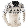 Зимний свитер для мужчин с принтом оленя с длинным рукавом