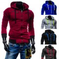 Male sports cardigan free cut with a hood and zipper.
