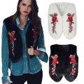 Меховой жилет для женщин с цветочной вышивкой.